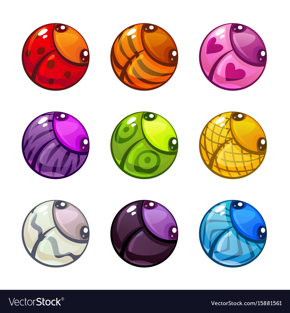 Cute colorful round bugs set vector image