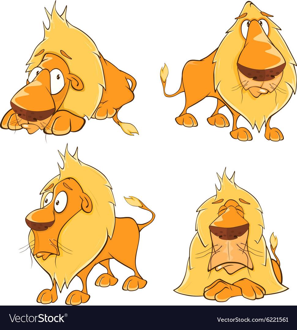 set of cute cartoon lions royalty free vector image