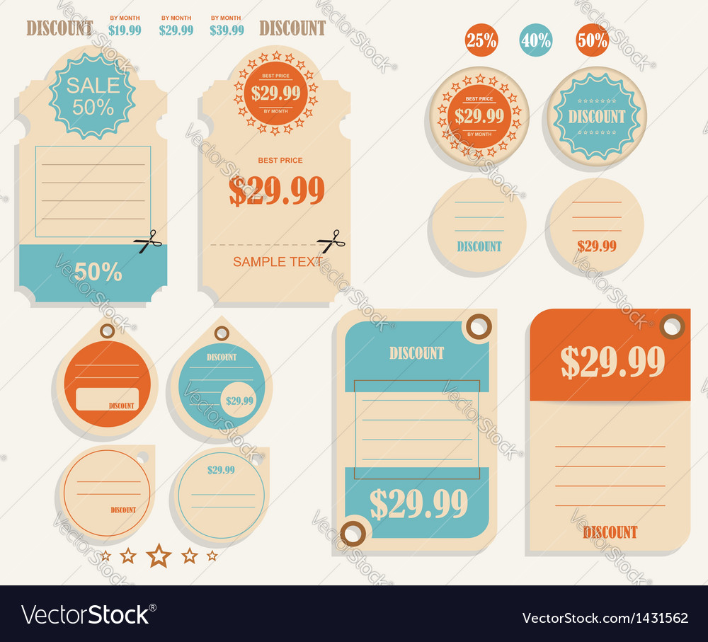 Vintage discounts template set vector image