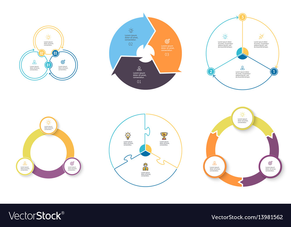 Business infographics diagrams with 3 steps vector image