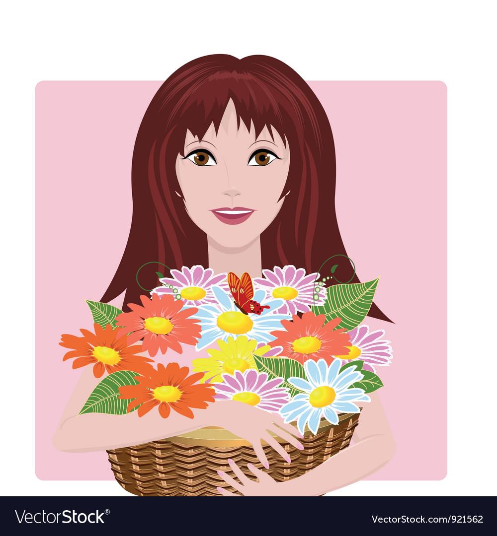 Girl bouquet vector image