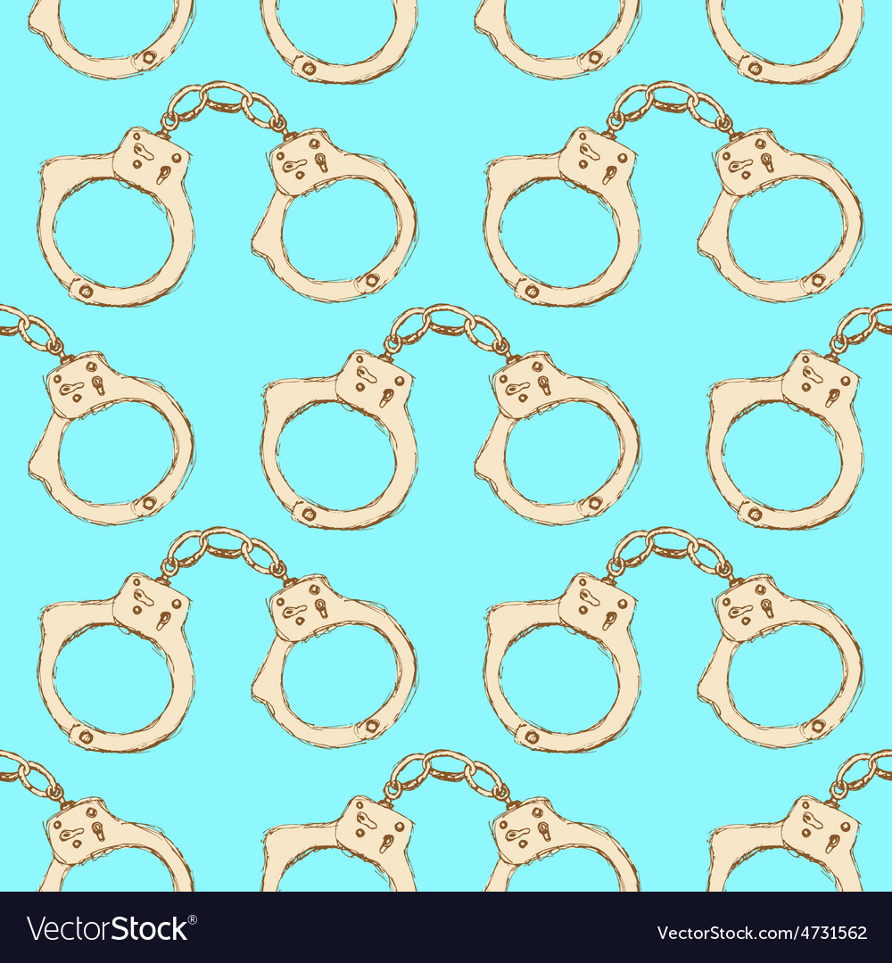Sketch steel handcuffs in vintage style vector image