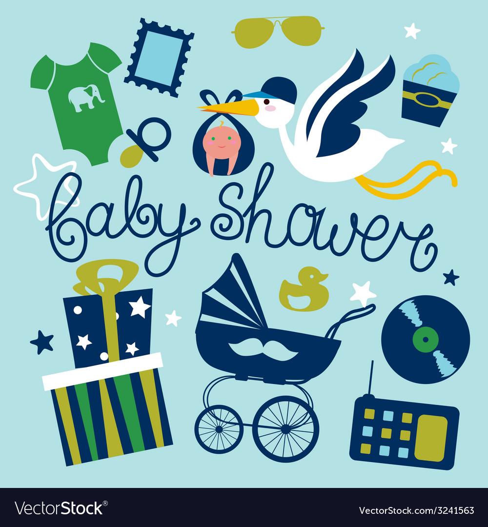 Poster design vector - Baby Shower Poster Design For Boy Vector Image