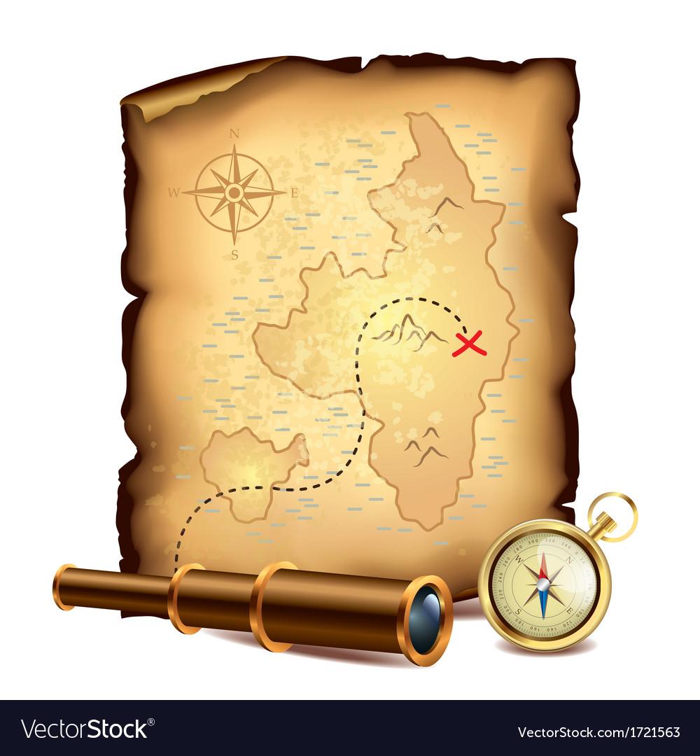 Pirate treasure map vector image