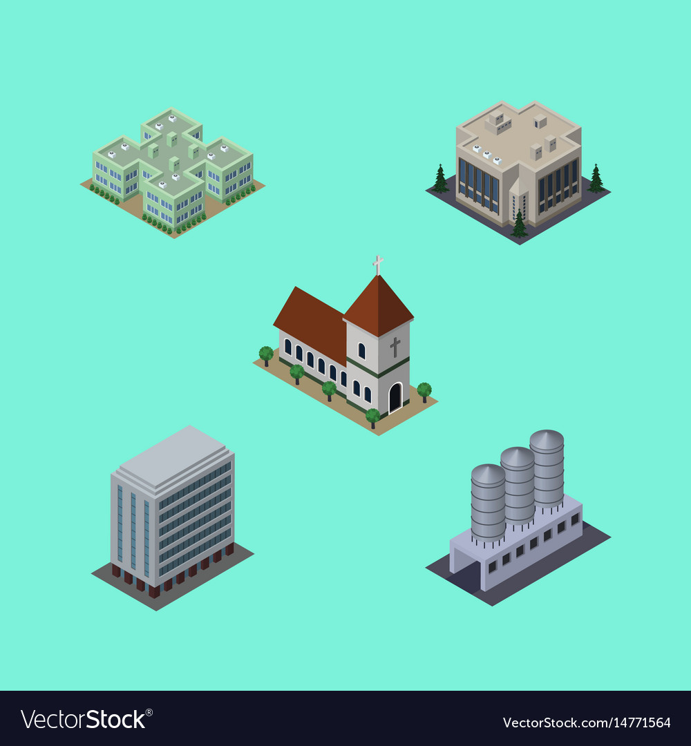 Isometric architecture set of company clinic vector image
