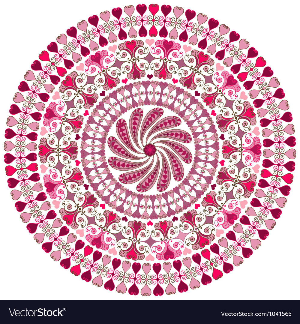 Valentine round frame vector image