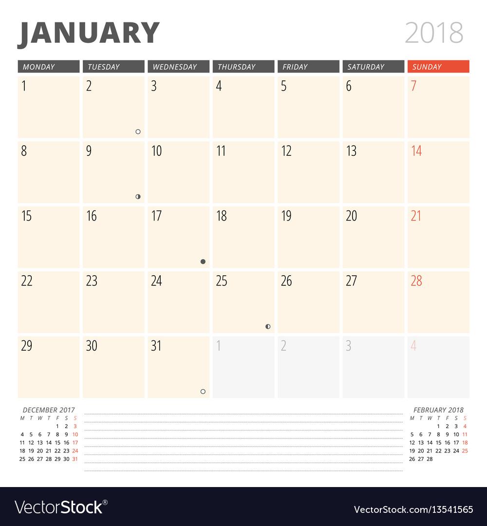Calendar Planner Vector Free : Calendar planner for january design template vector image
