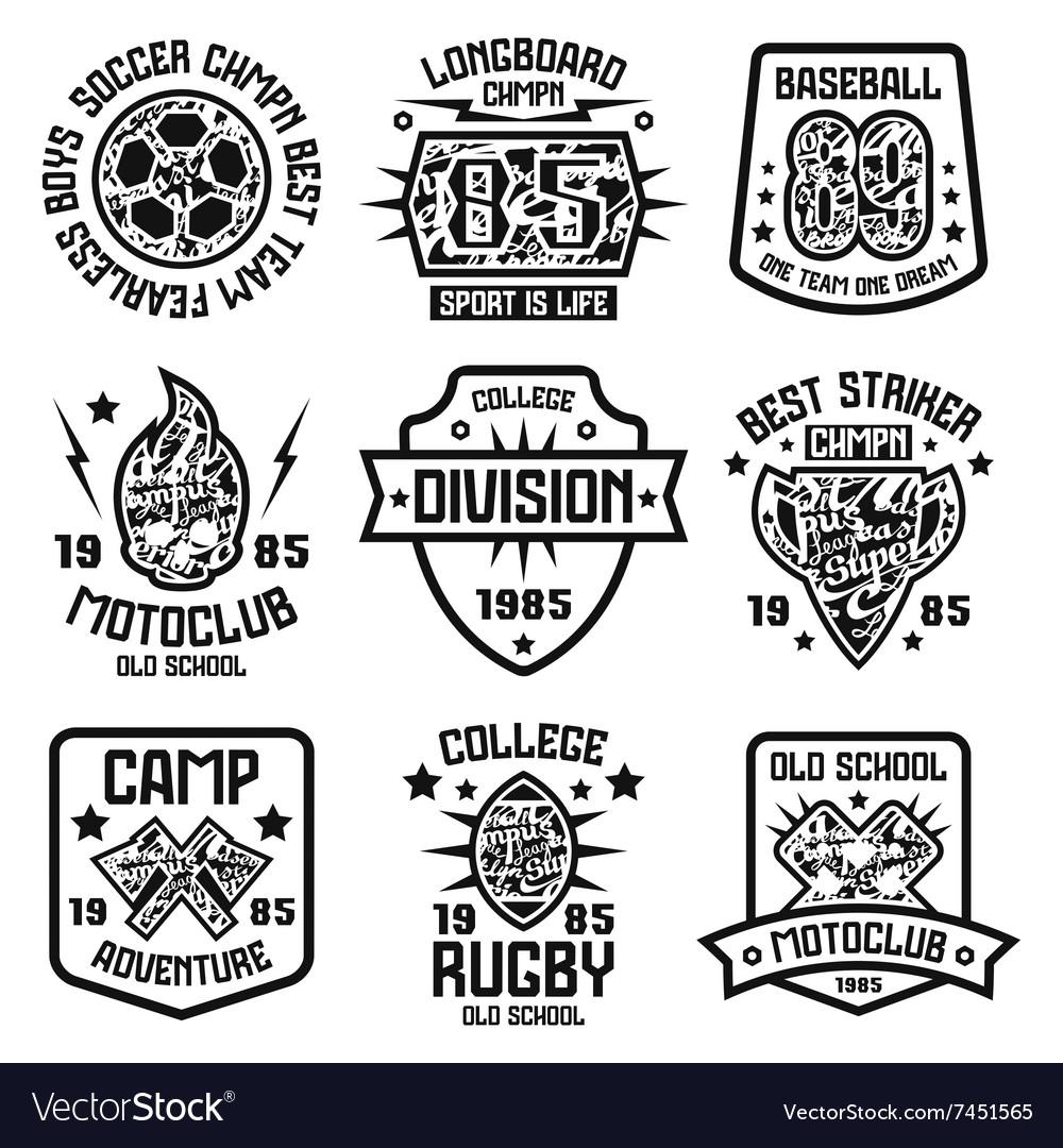 Design t shirt baseball - Sport Badges Graphic Design For T Shirt Vector Image