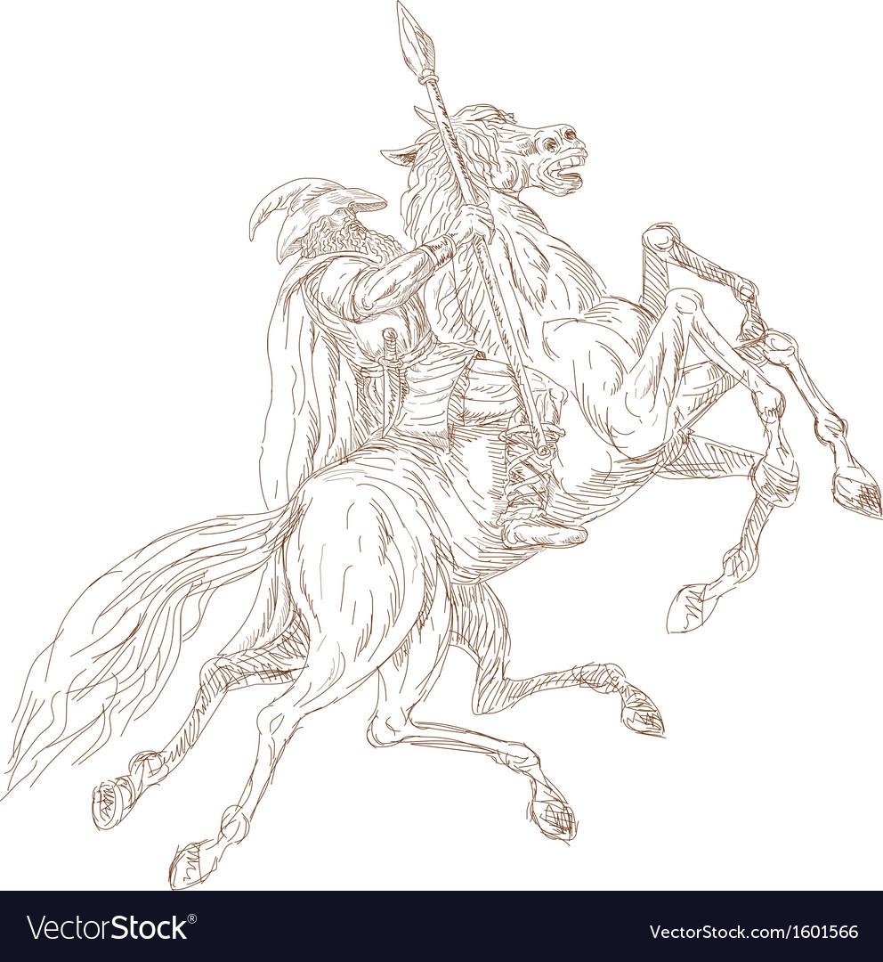 Norse God Odin riding eight-legged horse vector image