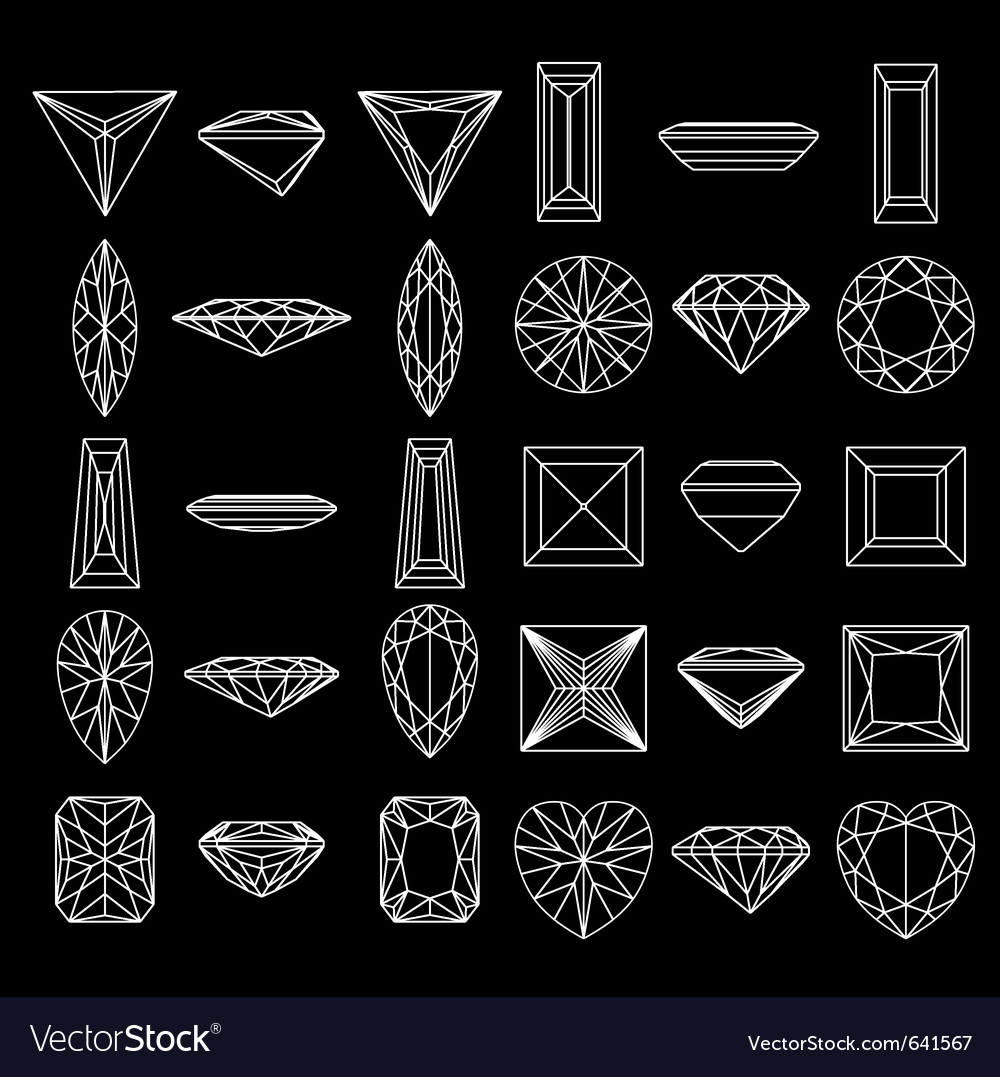 Diamond gemstone wire frames vector image