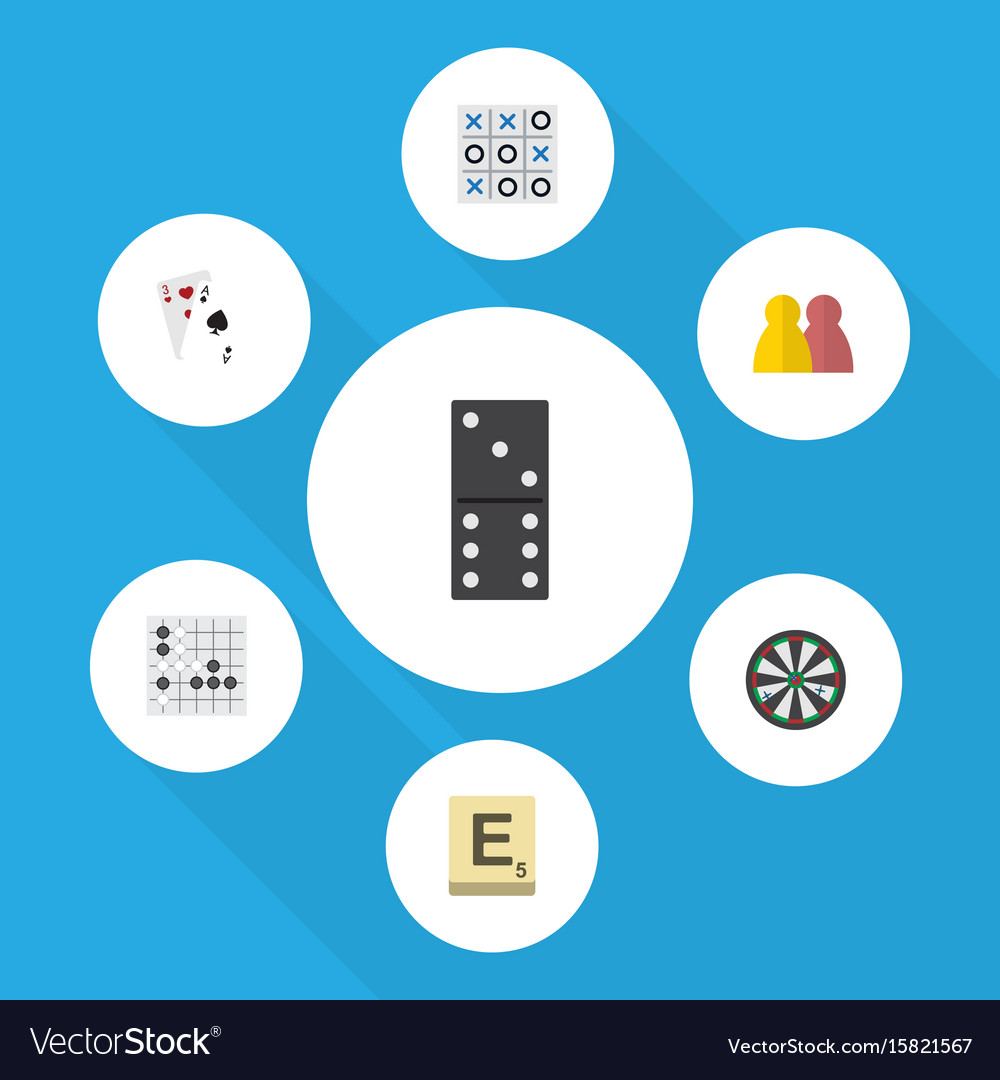 Flat icon games set of ace people bones game and vector image