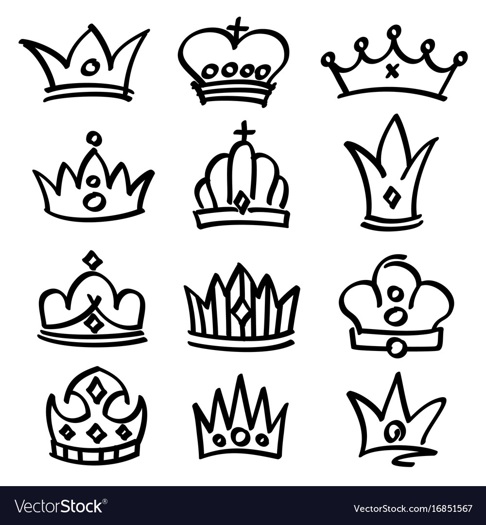 Hand drawn princess crowns sketch doodle vector image