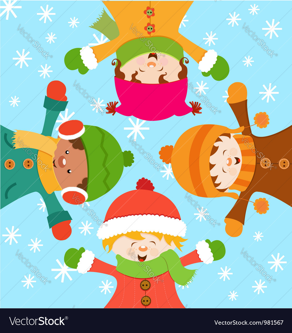 Kids Celebrating Snow vector image