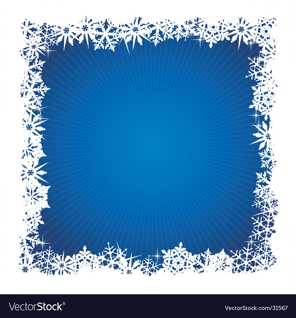 Square blue snowflake background vector image