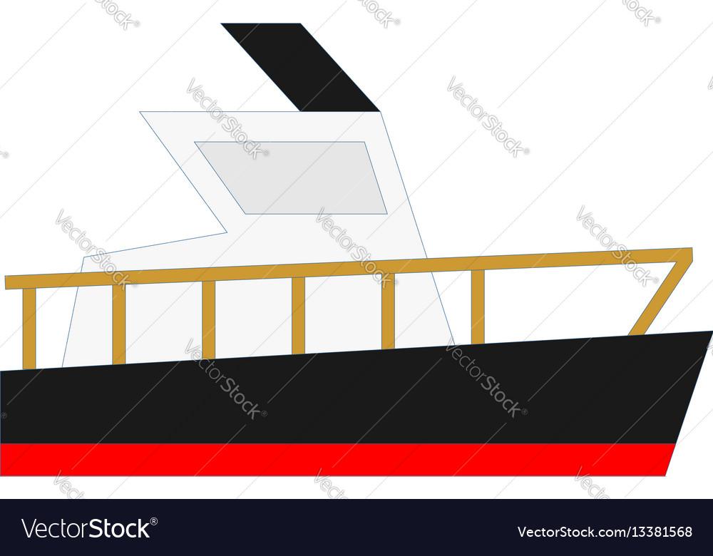 Flat yacht boat cargo ship design vector image