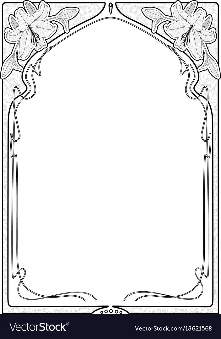 Rectangular decorative frame with art nouveau vector image