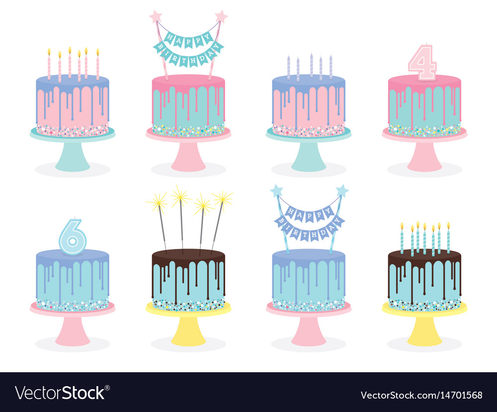 Set of birthday cakes with candles and decoration vector image
