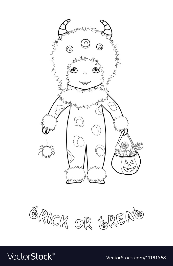 Trick or treat coloring page with cute monster Vector Image