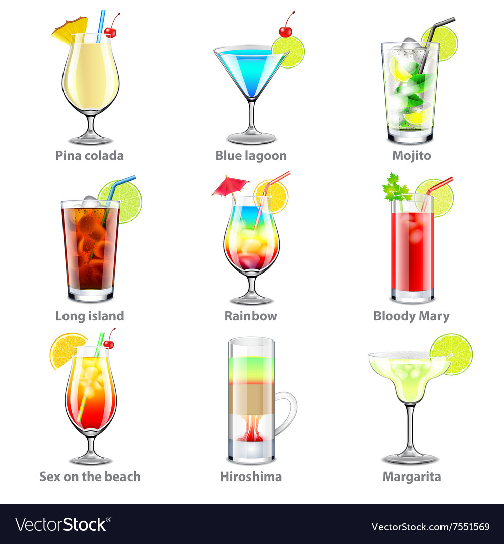 Cocktails icons set vector image