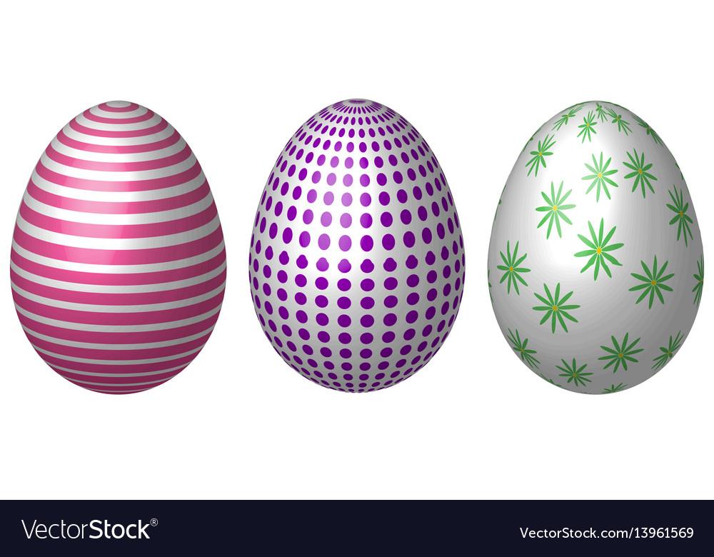 Set vintage easter eggs easter eggs vector image