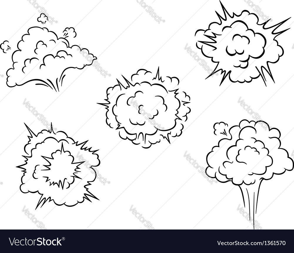 Cartoon clouds and explosions vector image