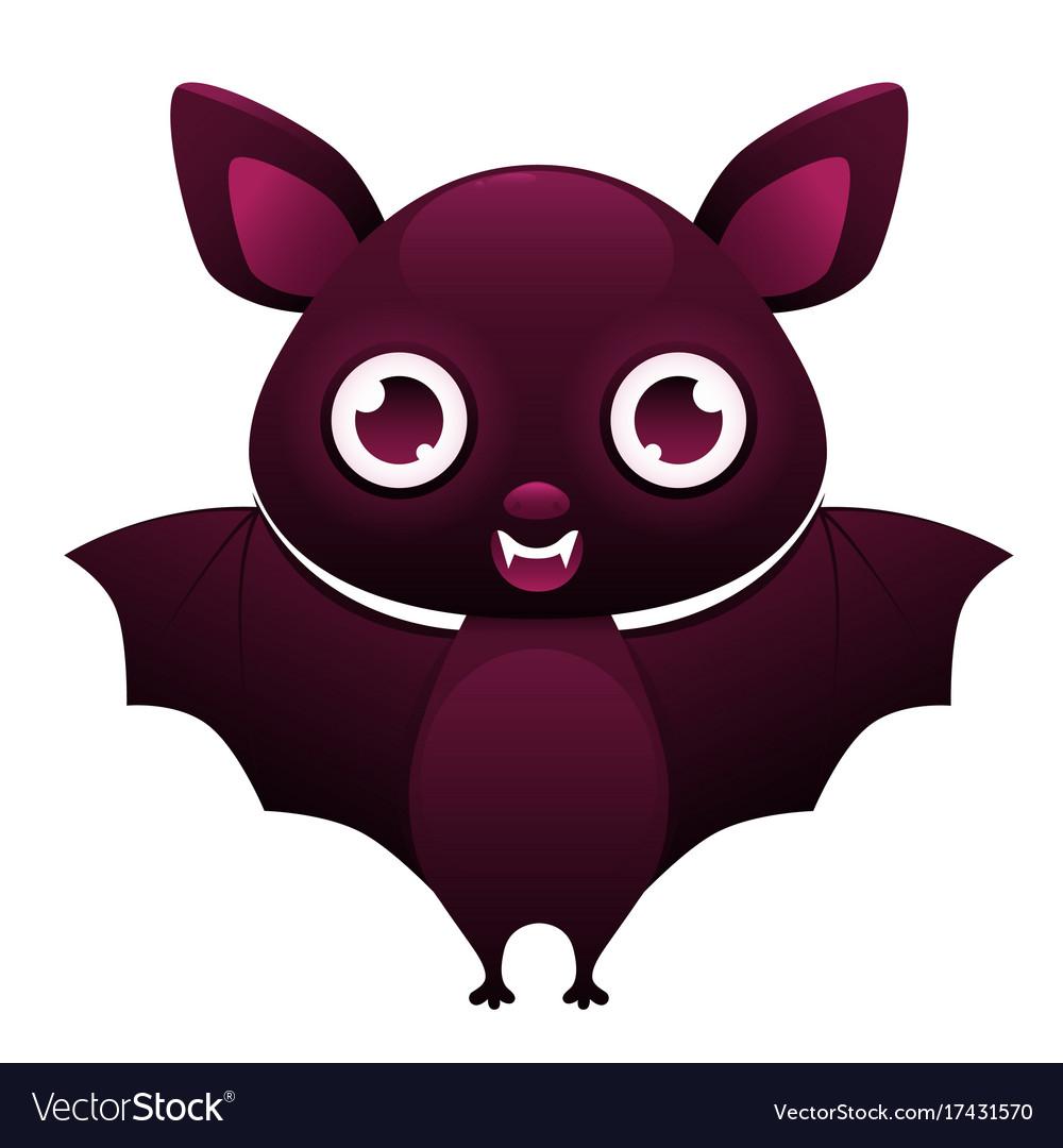 Vampire bat cute cartoon character vector image