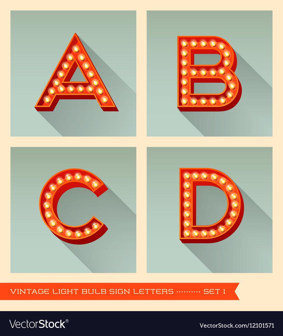 Vintage light bulb sign letters a b c d vector image