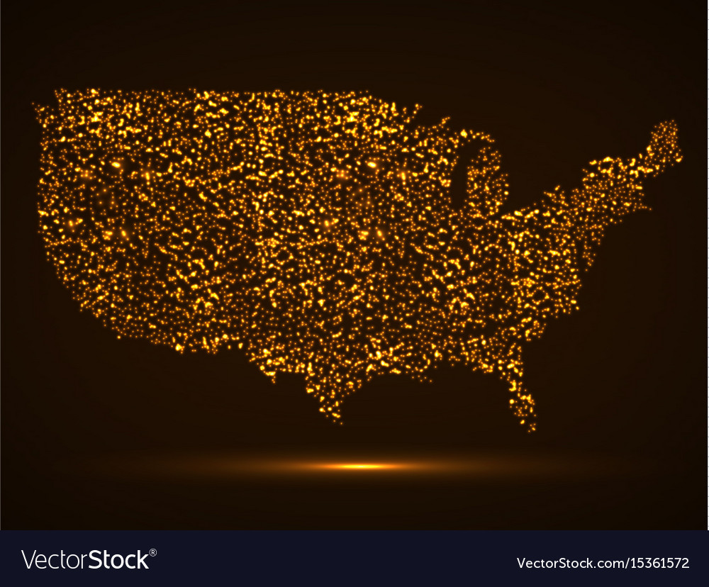 Abstract map of usa with glowing particles vector image
