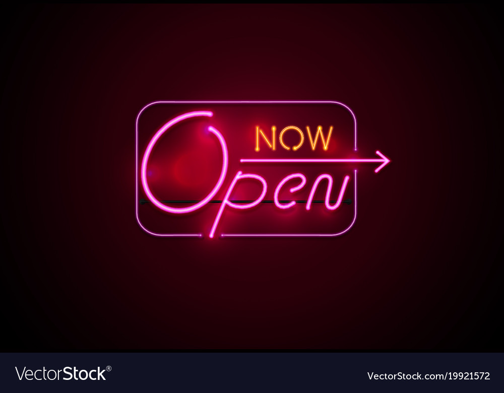 Neon sign open now glowing on wall background vector image