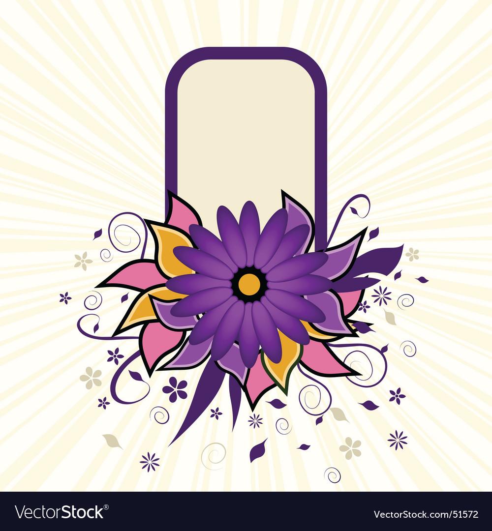 Portrait grunge flower text frame vector image