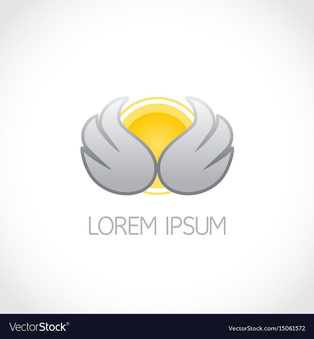 Wings and sun logo lorem ipsum vector image