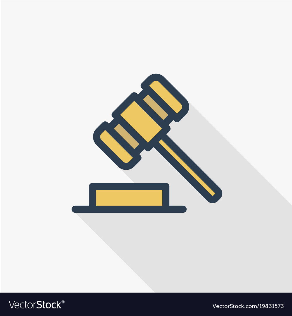 Auction hammer law and justice symbol verdict vector image