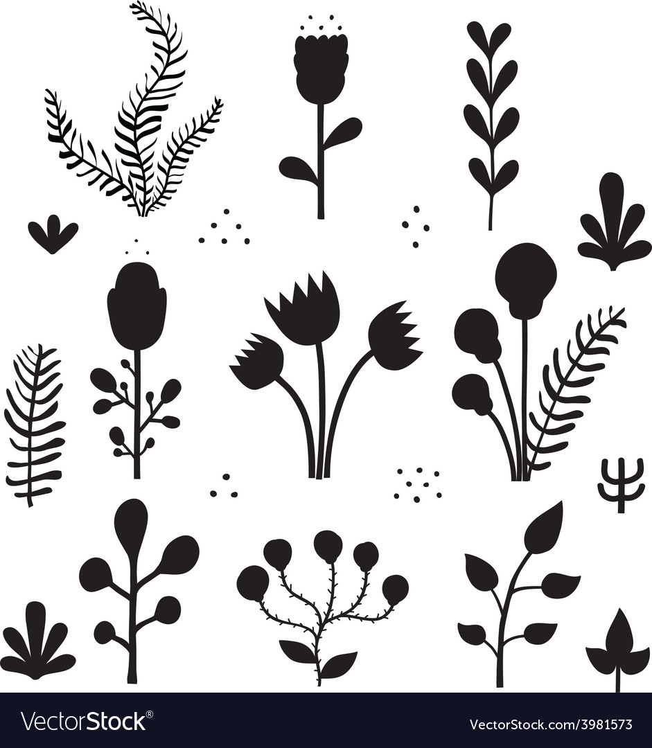 Isolated fairytale flowers silhouettes vector image