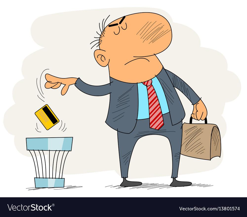 Men trashing a credit card vector image