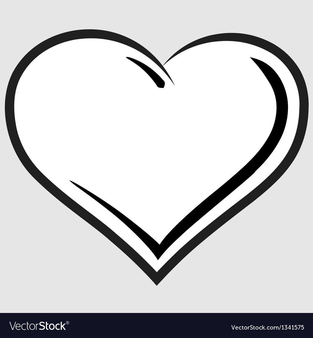 Black and white heart symbol vector image