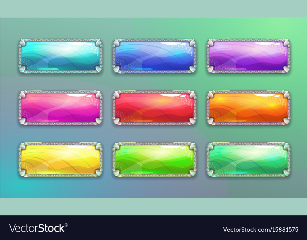 Cartoon long horizontal crystal buttons vector image