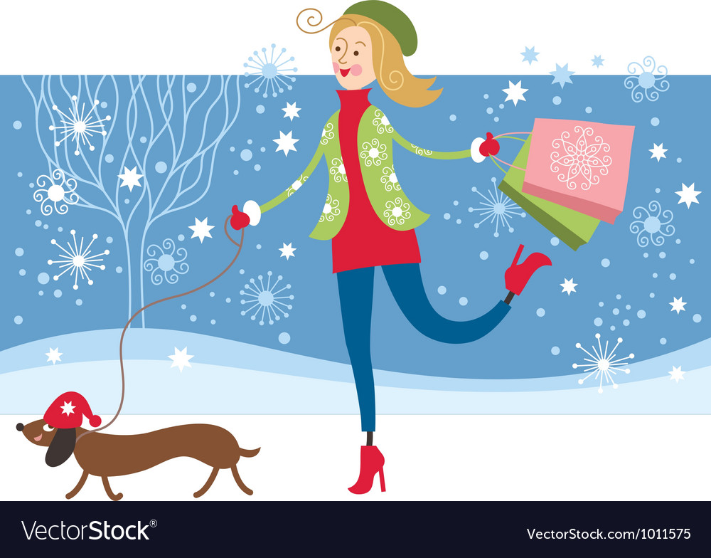 Cute girl walking vector image