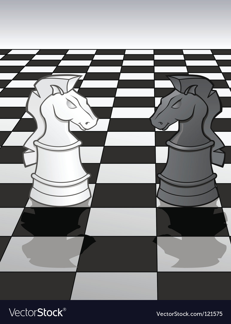 Knights on a chess board vector image
