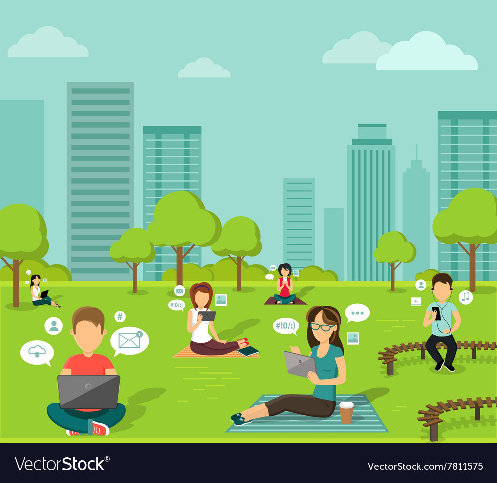 People in the Park Online Web Design Flat vector image