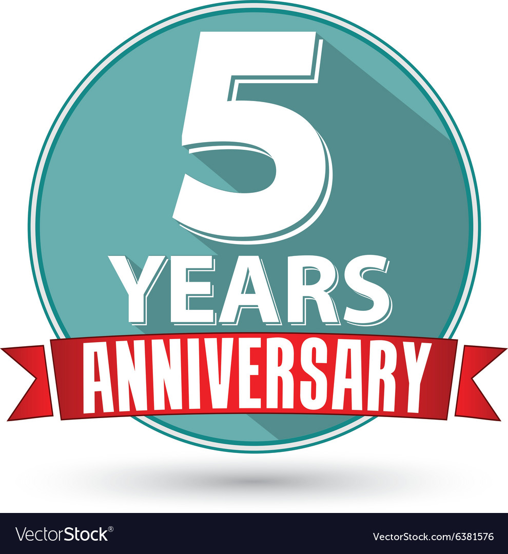 Flat design 5 year anniversary label with red vector image flat design 5 year anniversary label with red vector image biocorpaavc Gallery
