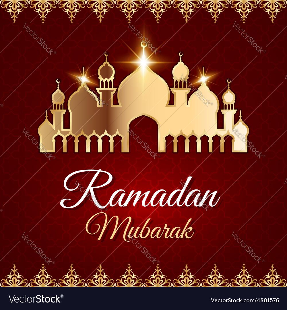 Ramadan mubarak greeting card with mosque vector image m4hsunfo Choice Image