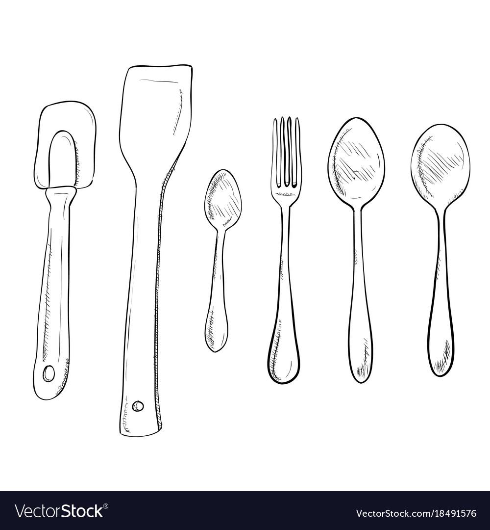 Sketch Hand Drawn Of Kitchen Utensils Vector Image