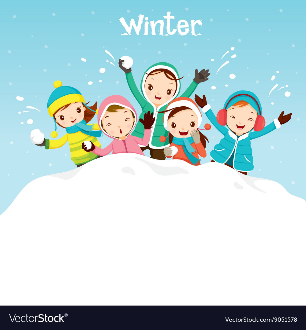 Children Playing Snow Together vector image