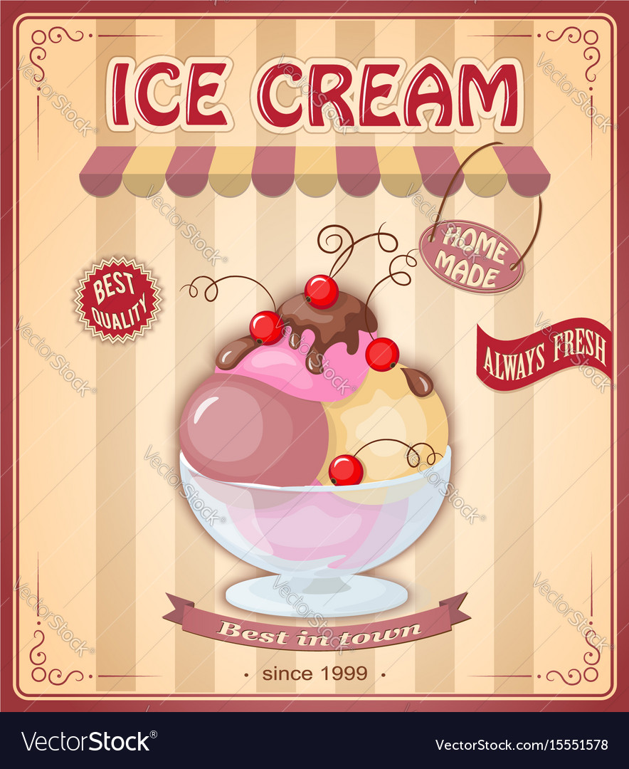 Vintage banner with scoop currant ice cream vector image