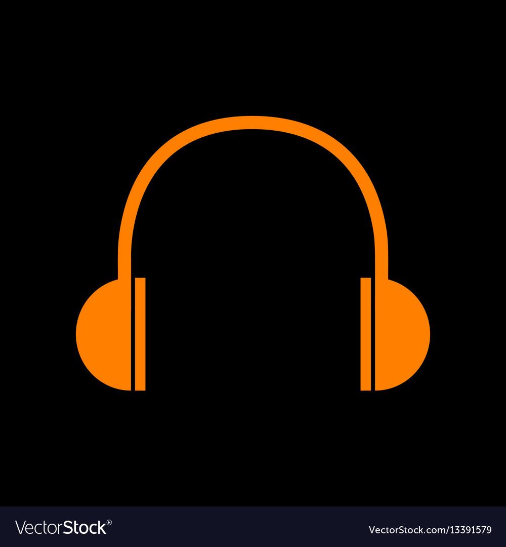 Headphones sign orange icon on black vector image