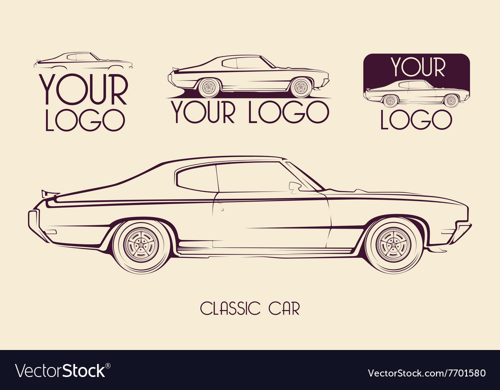 American classic sports car silhouettes logo vector image