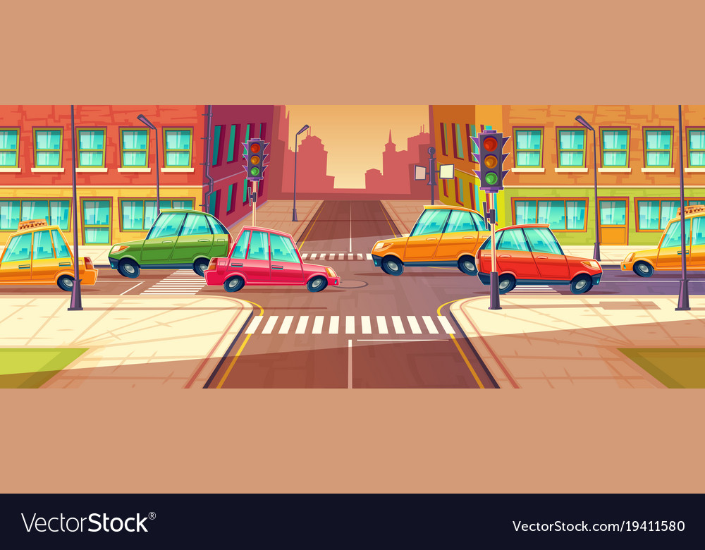 City crossroads traffic jam transport moving vector image