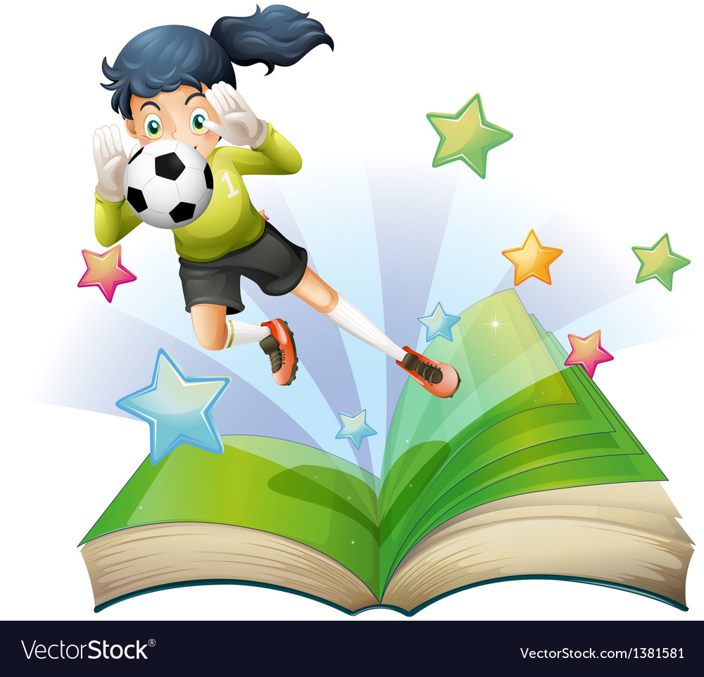 A book with an image of a female football player Vector Image