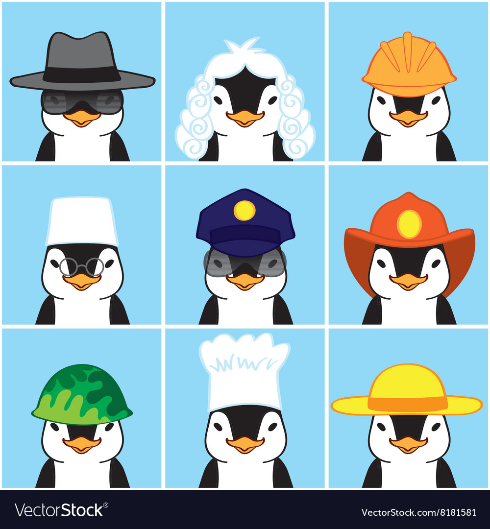 Cute Penguins of Different Professions vector image