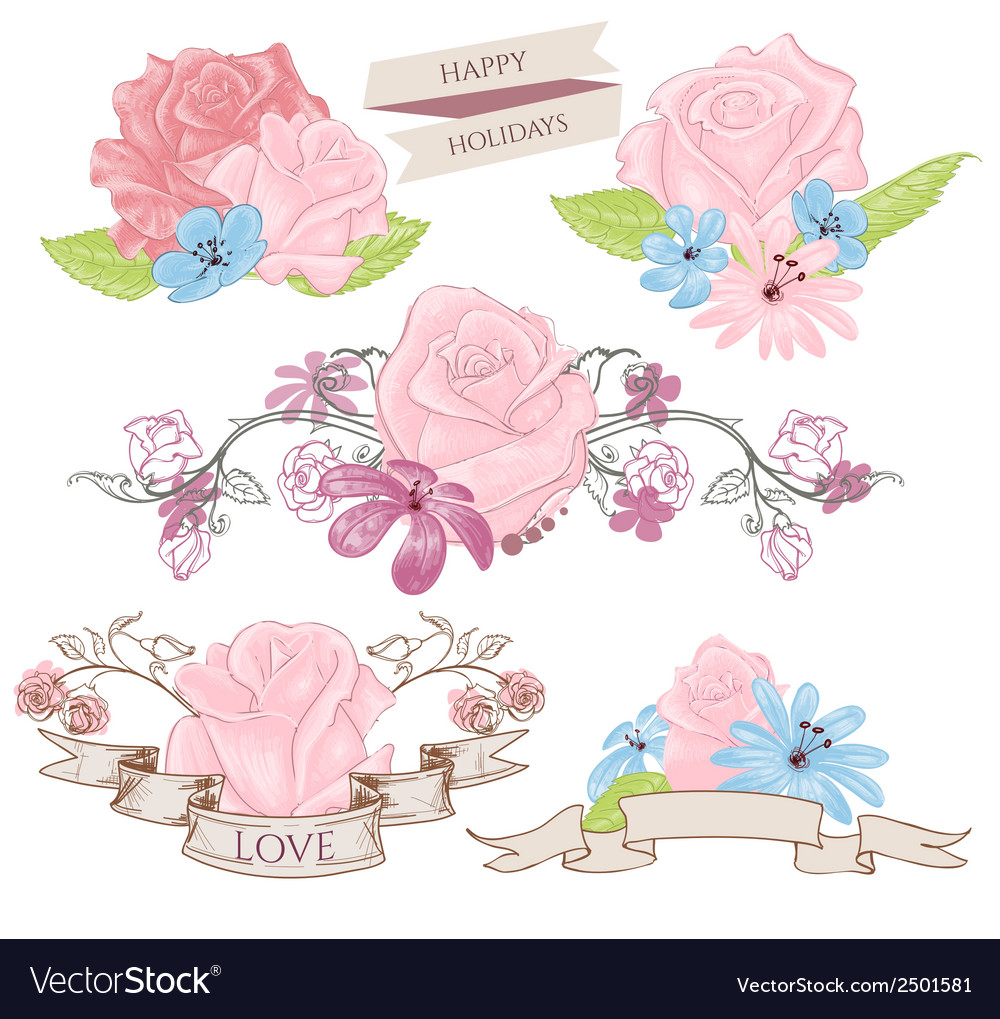 Floral design elements bouquets and banners vector image